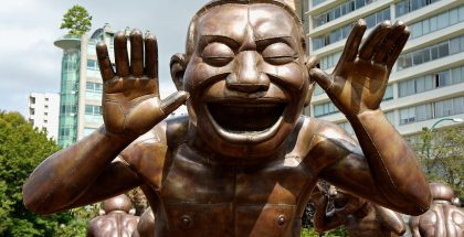 Bronze A-maze-ing Laughter sculptures by Yue Minjun, Vancouver, British Columbia, Canada