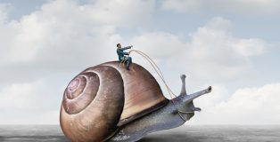 Business patience and low pressure take your time symbol controlling the pace at the workplace concept as a businessman riding a slow snail in a 3D illustration style.